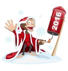 Christmas Monkey launches rocket fireworks Monkey vector image