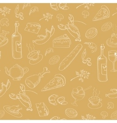 collection hand-drawn food seamless pattern vector image