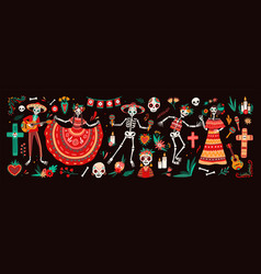 collection traditional day dead symbols vector image