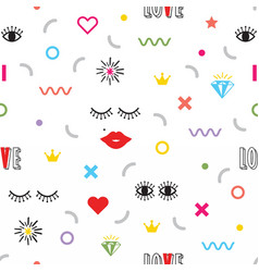 Colorful modern retro feminine fun icons pattern vector