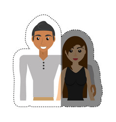 couple relationship lovely shadow vector image
