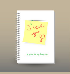 Cover of diary or notebook loving message vector