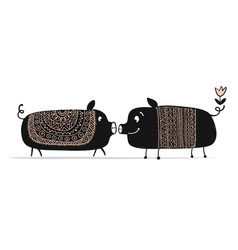 Cute couple of pigs symbol of 2019 for your vector