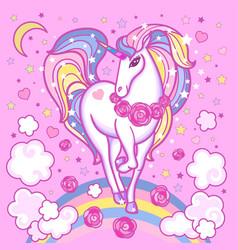 Cute rainbow unicorn among the clouds stars rose vector