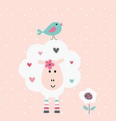 Cute with funny sheep and bird vector