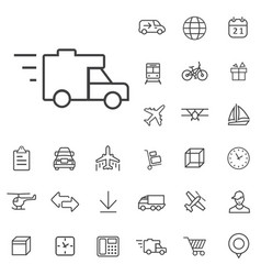 delivery outline thin flat digital icon set vector image