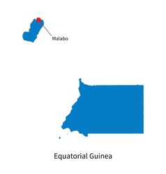 Detailed map of Equatorial Guinea and capital city vector image