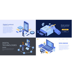 Digital contract banner set isometric style vector