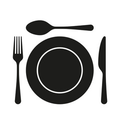 Dining flat icon with plate fork and knife for vector