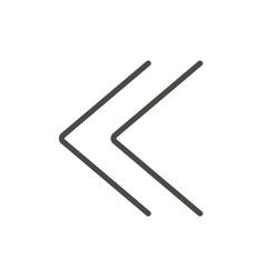 Double chevrons icon previous line symbol vector