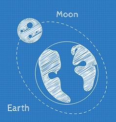 Earth and moon Blueprint grid background Graphing vector image