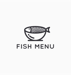 fish logo with plate on white background vector image