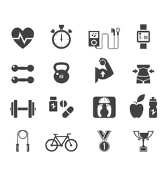 Fitness and diet icon set in black vector image