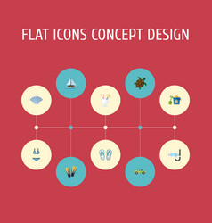 flat icons shovel swimming slippers and other vector image