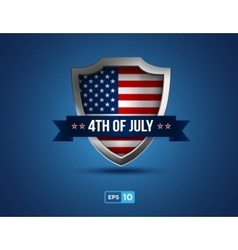 fourth july shield on blue background vector image