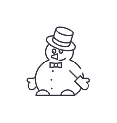 funny snowman line icon concept funny snowman vector image