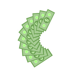 green dollar paper banknotes in fan isolated on vector image