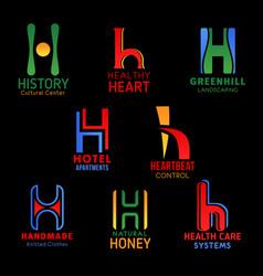 h letter font design modern business symbols vector image