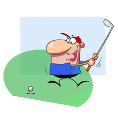 Happy Man Swings Golf Club vector image