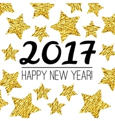 Happy new year 2017 card with gold textured star vector