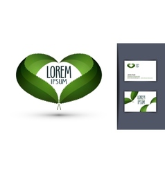 heart logo design template ecology or bio icon vector image