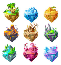 Isometric game islands collection vector