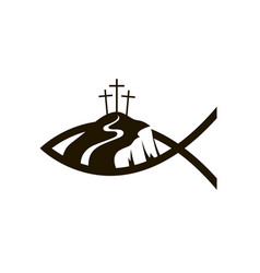 jesus fish and golgotha vector image