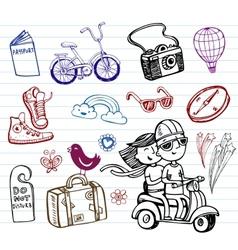 Journey set of funky doodles vector