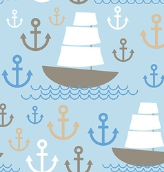 Light Blue Seamless background Boat with white vector image
