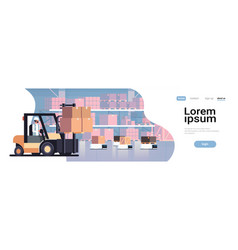 man driving forklift loader pallet truck warehouse vector image
