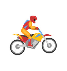 man riding motorbike motorcyclist male character vector image