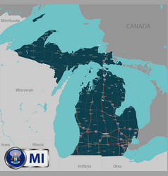 map of state michigan usa vector image