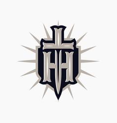 Modern professional emblem shield and sword vector