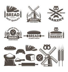 Monochrome labels set for bakery shop vector