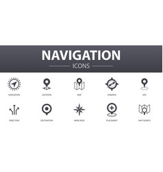 navigation simple concept icons set contains such vector image