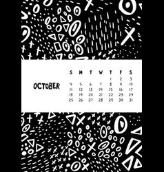 October colorful monthly calendar for 2020 year vector
