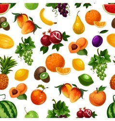 Pattern of fresh fruits with leaves vector