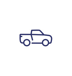 Pickup truck line icon on white vector