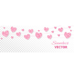 pink hearts frame seamless border glitter vector image