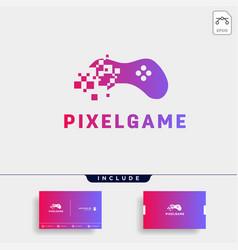 Pixel game logo design icon element isolated vector