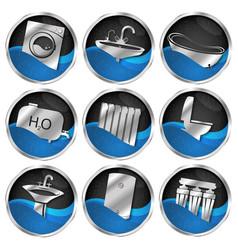 plumbing symbols set vector image