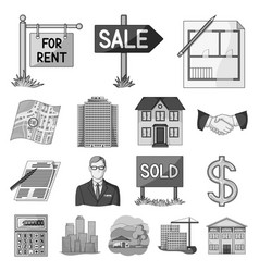 Realtor agency monochrome icons in set collection vector