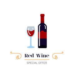 red wine and glass wine icon red wine label vector image