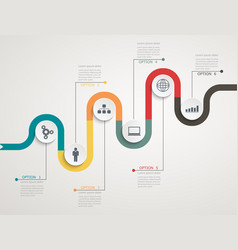road infographic timeline with icons vector image