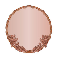 round frame oak leaves and acorns woodcarving vector image