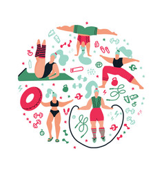 round shape composition women doing sportsposes vector image