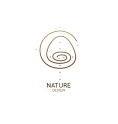 round spiral logo mountain landscape minimal icon vector image