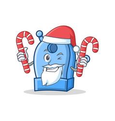 Santa with candy pencil sharpener character vector