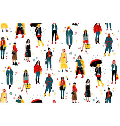 Seamless pattern with fashionable young women in vector