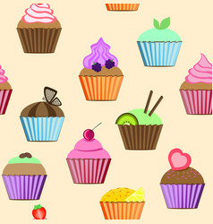 Seamless patterns cupcakes set vector